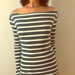 Green and White Gap Boatneck Tee, Small